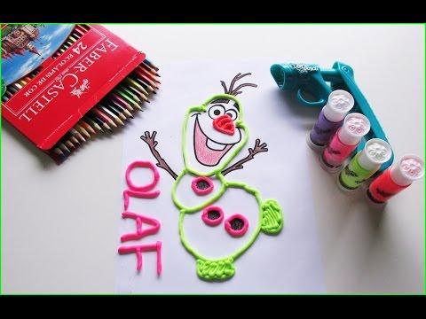 Desenho Olaf Frozen Colorindo Com Lapis De Cor E Play Doh Vinci