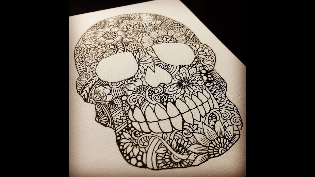 Drowings Imags: Zentangle Skull ~drawing Process~