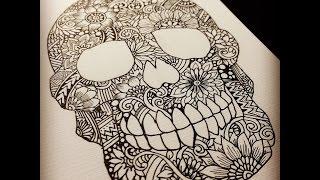 Zentangle Skull ~drawing process~