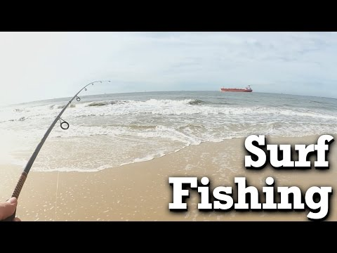 Beginner Surf Fishing - Winter Fishing at the Beach with Shrimp