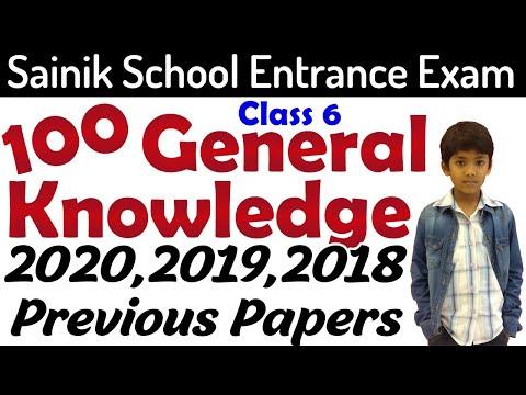 100 General Knowledge Sainik School Entrance Exam Previous Papers| gk question class 6