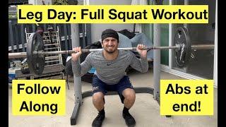 Full-Body Squat Rack Workout | Killer Leg Day Workout + Abs | Follow Along