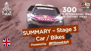 Stage 3 Summary - Car/Bike - (San Miguel de Tucumán / San Salvador de Jujuy) - Dakar 2017(Summary of Car category : STEPHANE PETERHANSEL (TEAM PEUGEOT TOTAL) won the stage (San Miguel de Tucumán / San Salvador de Jujuy) in front of ..., 2017-01-04T23:14:00.000Z)
