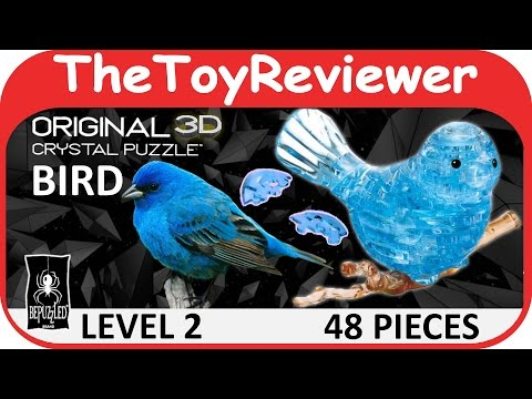 Original 3D Crystal Blue Bird Puzzle (48 Pieces) BePuzzled Unboxing Toy Review by TheToyReviewer