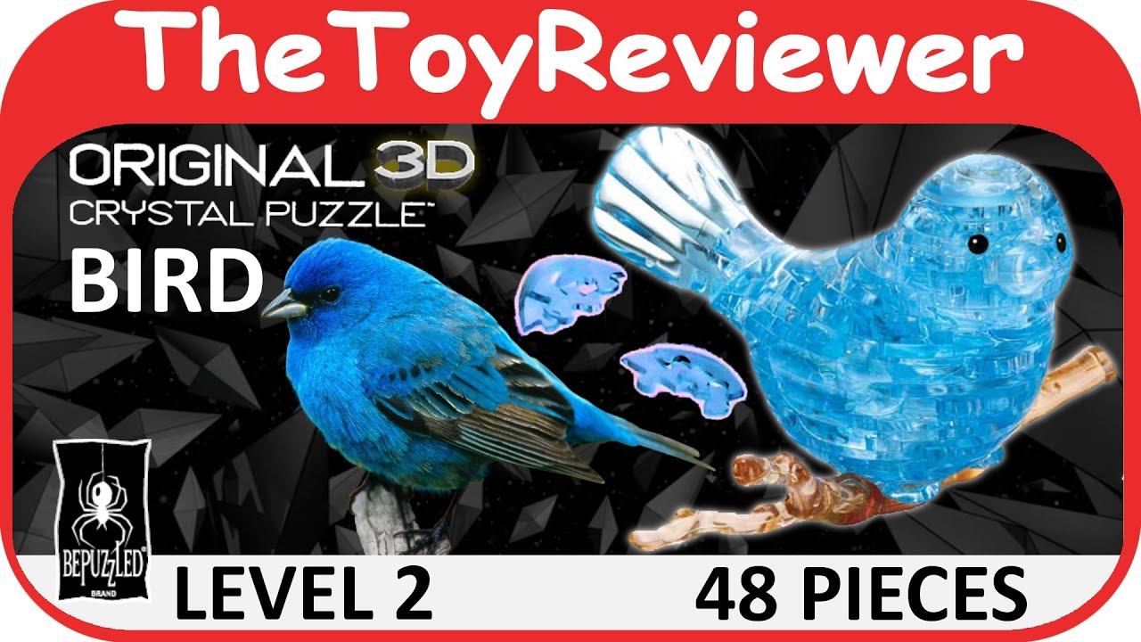 Original 3d Crystal Blue Bird Puzzle 48 Pieces Bepuzzled
