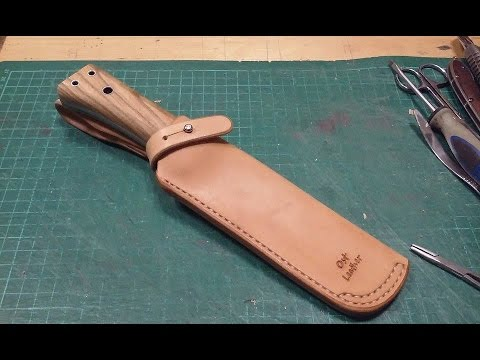make a leather sheath for the knife - YouTube