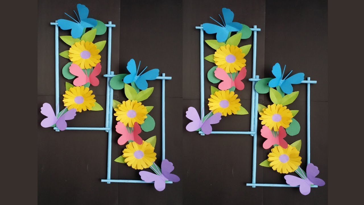 diy wall decoration idea how to make beautiful flower hanging for wall decoration - Beautiful Decoration Ideas