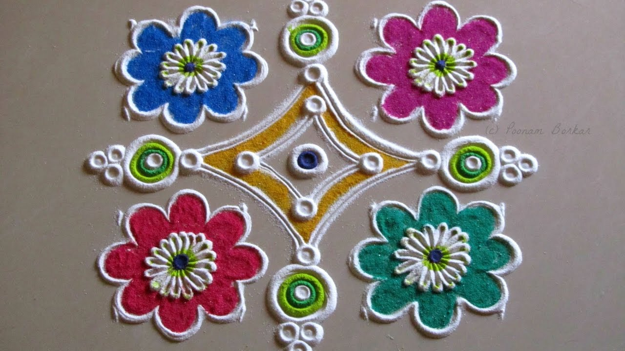 Simple Easy And Quick Rangoli Design For Beginners Rangoli By Poonam Borkar