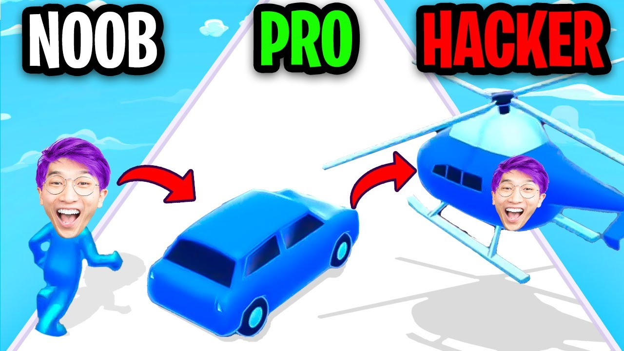 NOOB vs PRO vs HACKER In SHAPE-SHIFTING APP GAME! (ALL LEVELS!)