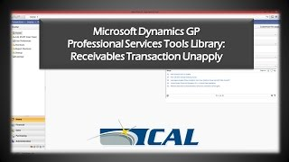 Dynamics GP Professional Services Tools Library: Receivables Transaction Unapply