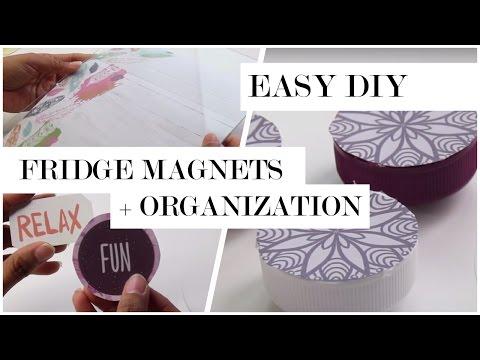 DIY Fridge Decor - Magnets and Dry Erase Board