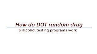 How do DOT testing programs work