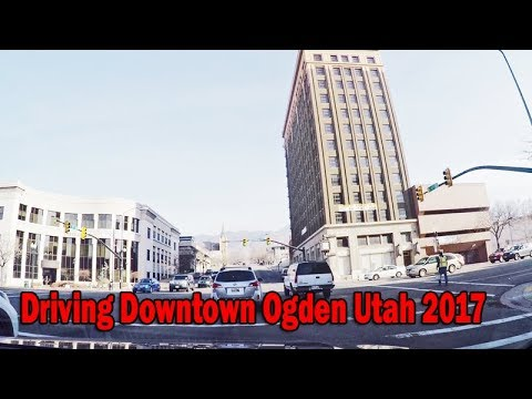 Driving Downtown Ogden Utah , City Hall Park. Wide angle lens, Day and Night, Part 2