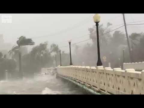 Barco de vela se estrella contra Venetian Causeway por vientos causados por el huracán Irma
