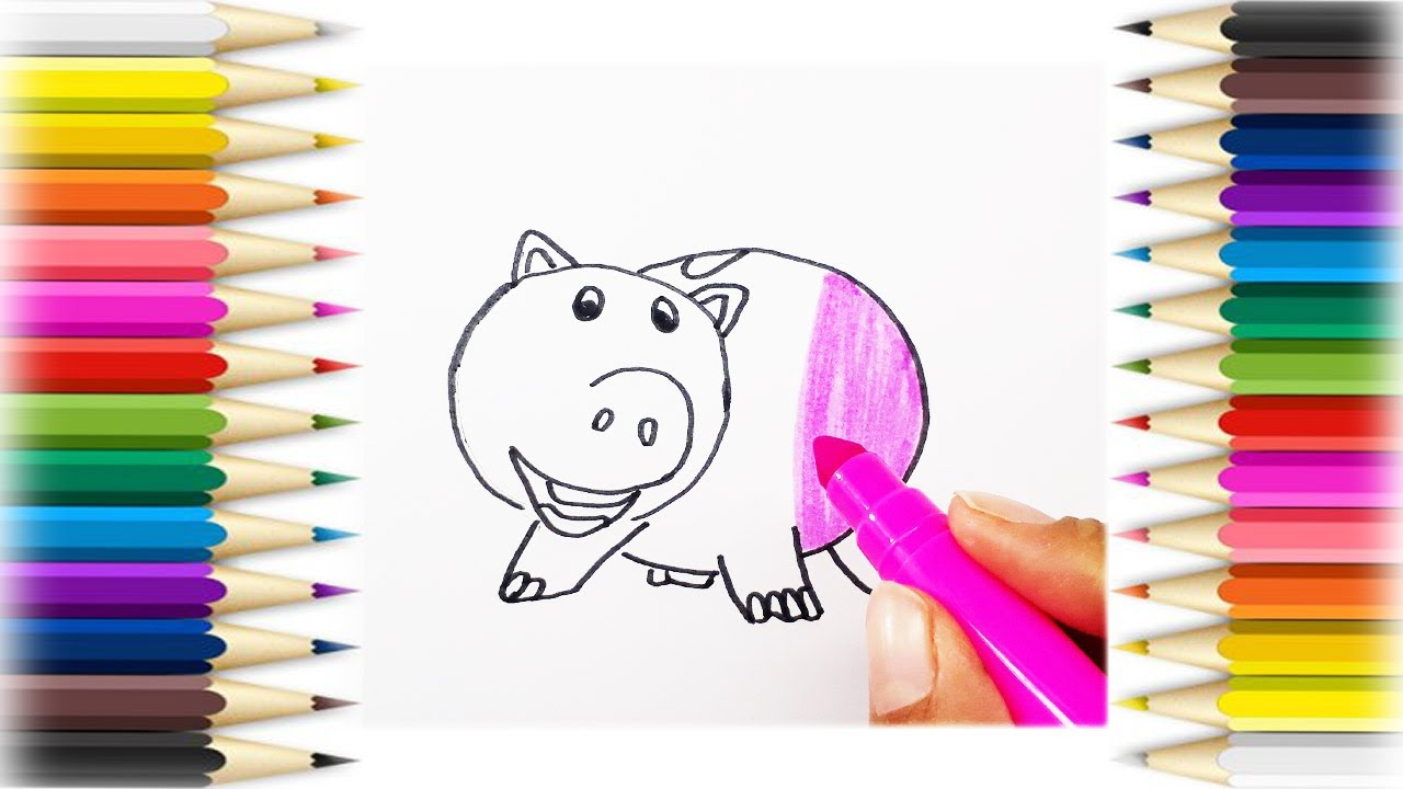 how to draw pig octopus coloring book page kids learn drawing