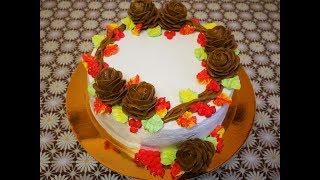 Торт ОСЕНЬ очень ВКУСНЫЙ МЯГКИЙ НЕЖНЫЙ  Бисквитный торт РЕЦЕПТ cake decoration украшение тортов