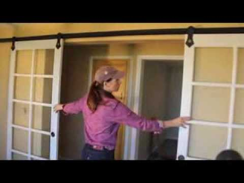 How to install pair of sliding barn doors with rlp v track - Installing a lock on a bedroom door ...
