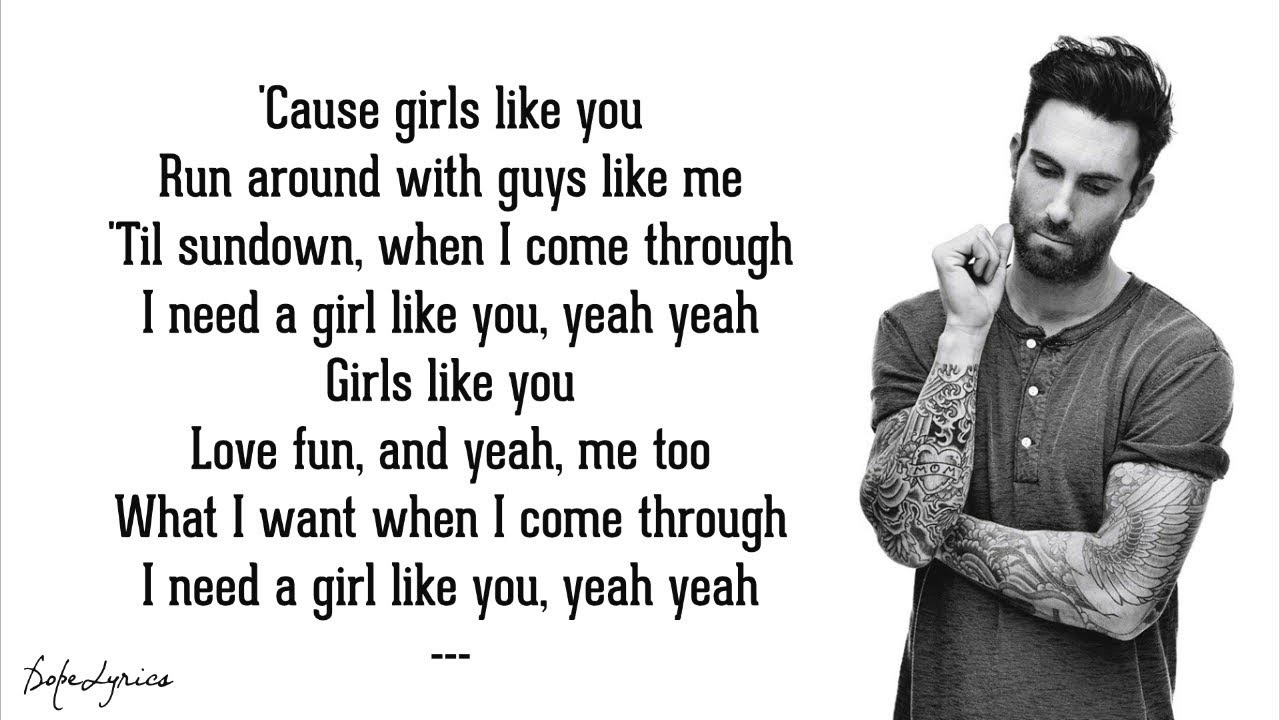 Maroon 5 - Girls Like You (Lyrics) ft. Cardi B #1