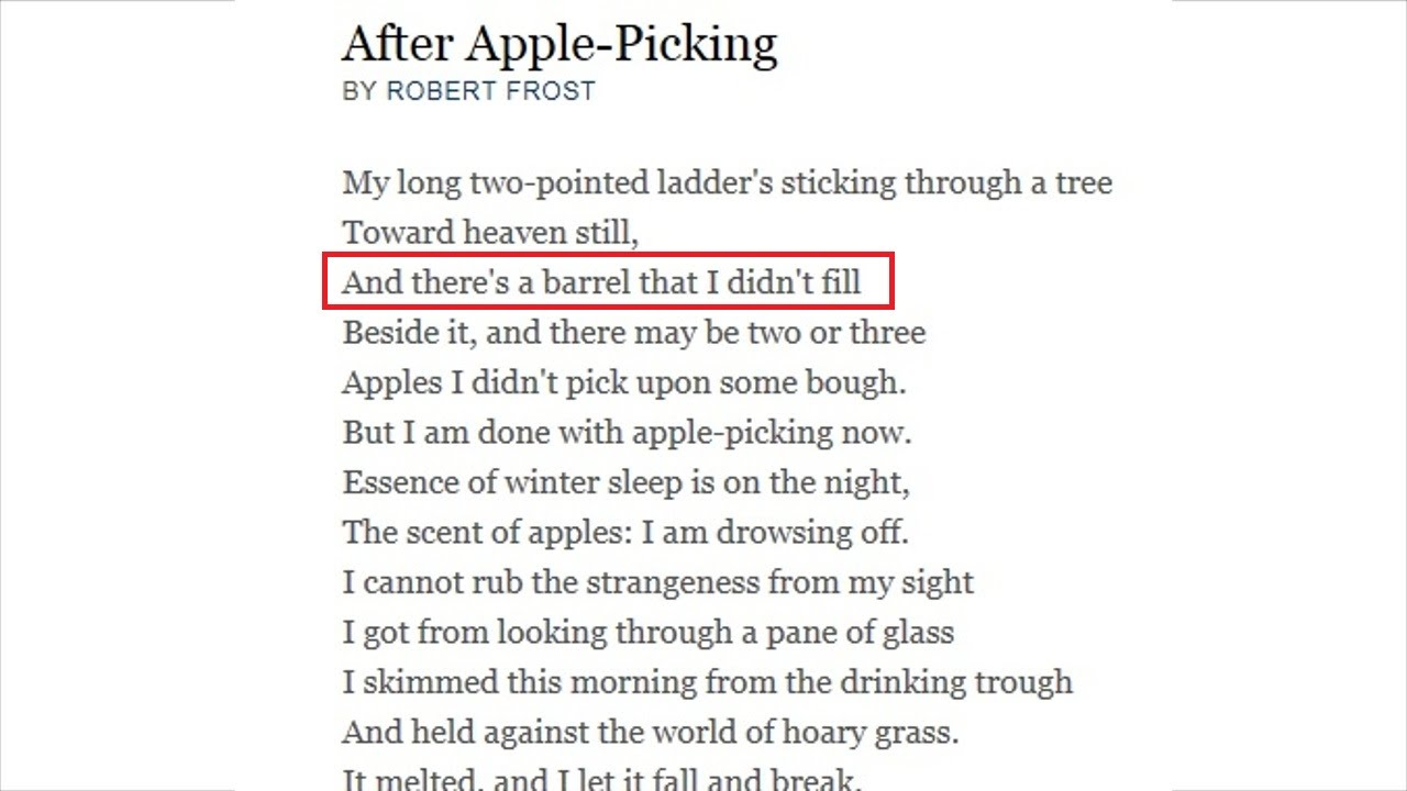 a literary analysis of after apple picking by robert frost Robert frost's second  considered the defining moment of his literary  but one poem in the book will intone and that is 'after apple picking.