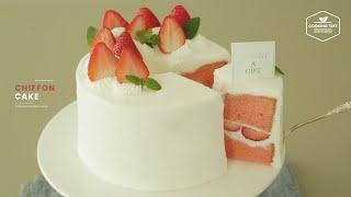 폭신한 시폰 케이크에 딸기와 생크림으로 아이싱 한 딸기 시폰 생크림 ...