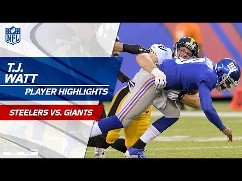 T.J. Watt's 2 Sacks in Debut Game! | Steelers vs. Giants | Preseason Wk 1 Player Highlights