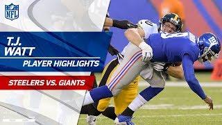 T.J. Watt's 2 Sacks in Debut Game! | Steelers vs. Giants | Preseason Wk 1 Player Highlights