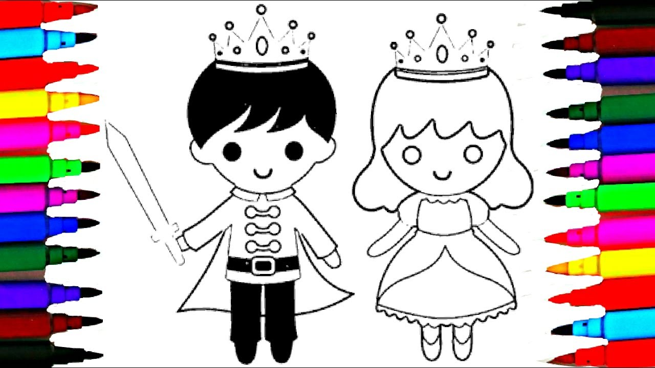How to draw little king and queen coloring pages l drawing videos for kids l disney brilliant