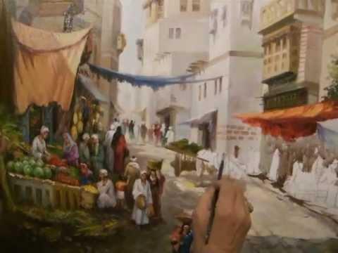 Egypitin artist Mansour Paint Old street .Cairo.Egypt