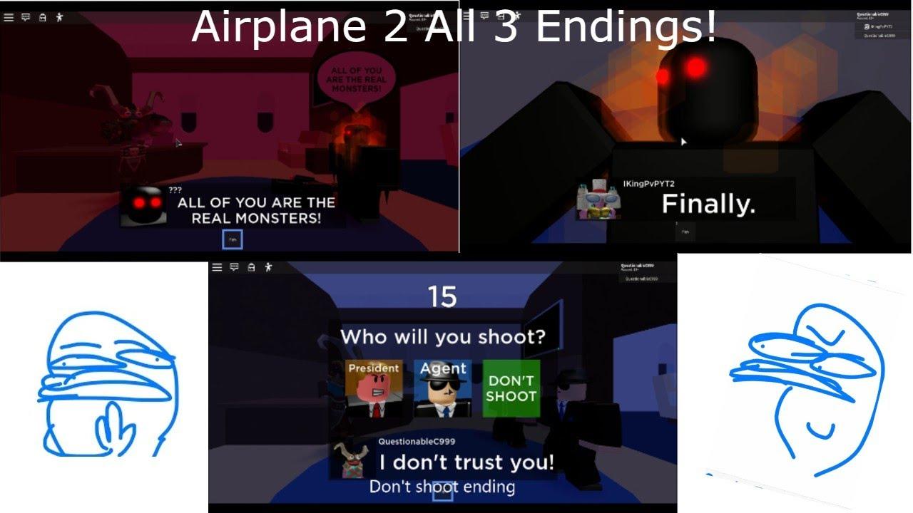 Roblox Airplane Story Endings - Roblox Airplane 2 All Endings