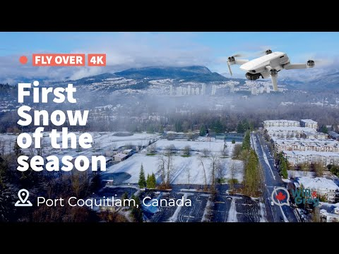 Fly over the First snow of the season in Port Coquitlam, Canada