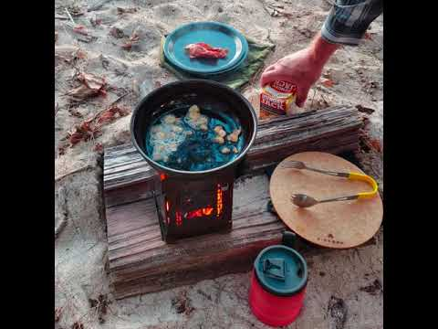 Bacon & Eggs Breakfast On The Beach With Hash Browns & Coffee! Firebox Stove & Ultra Cook Kit!