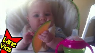 5 month old eating cantaloupe day 1 baby led weaning blw thefunnyrats thefunnyrats