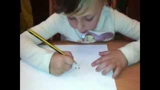Con cuatro años: dibujando a un gato.  De niños para niños.