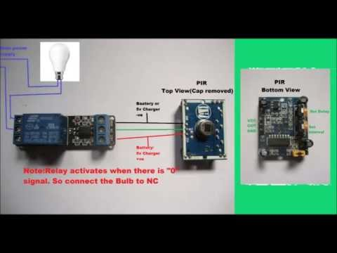 From Switch Schematic Wiring Diagram Pir Sensor With Relay Youtube