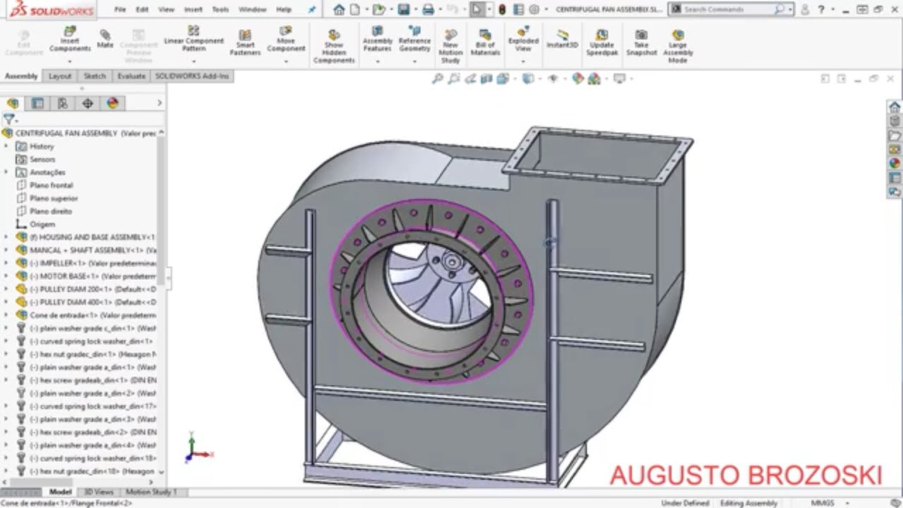 Solidworks Centrifugal Fan 10 10 Parte 01 Youtube