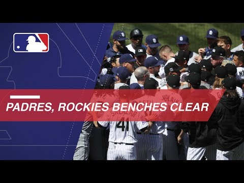 Benches clear between Padres and Rockies