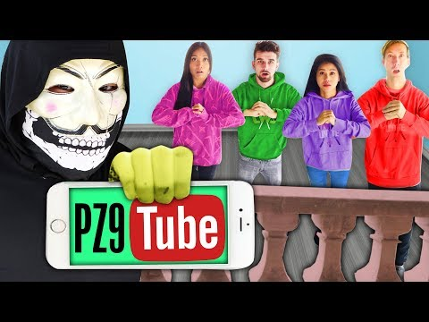 PZ9 HACKS YOUTUBE?  Following PZ9 for 24 Hours To Rescue Justin Fingerprint Challenge in Hollywood