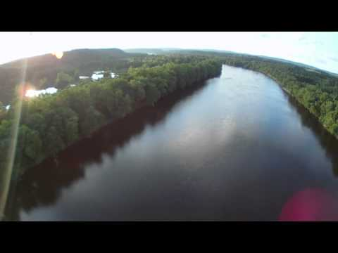 Fly-Over Delaware River North from Frenchtown to Milford, New Jersey July 14, 2011
