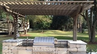 Pergola Covered Outdoor Kitchen With Stainless Steel Grill, Burner, Sink And Cabinet