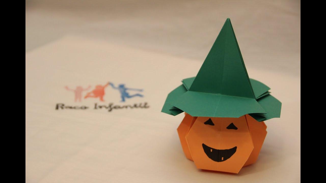 C mo hacer una calabaza de halloween en origami parte ii - Como hacer calabaza halloween ...