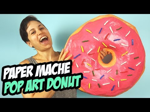 Super Size Donut Pop Art | Paper Mache Step By Step Acrylic Painting Tutorial