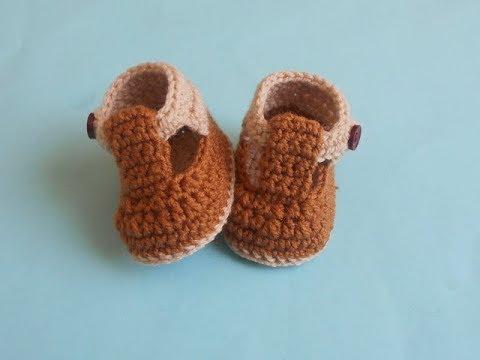 f7b8272339f7 Crochet Baby Boy Strap Booties(0-3)  (3-6) months - YouTube