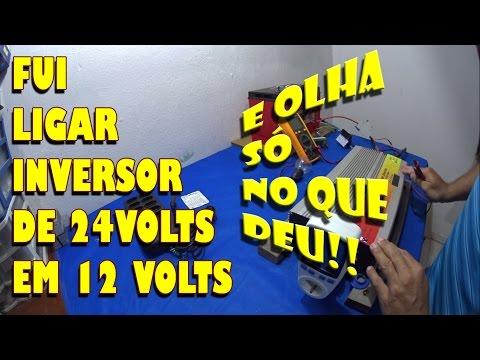 LIGUEI INVERSOR SOLAR DE 24VOLTS EM 12VOLTS , E  OLHA   NO QUE DEU !!