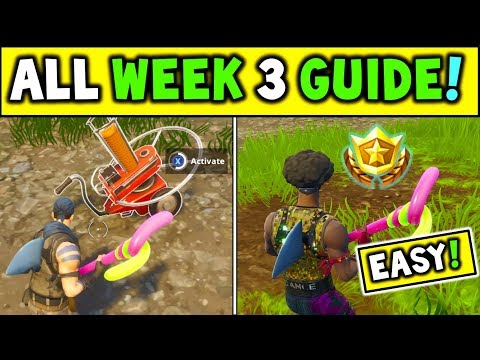 ALL WEEK 3 CHALLENGES GUIDE Fortnite! Shoot A Clay Pigeon At Different Locations + Treasure Map