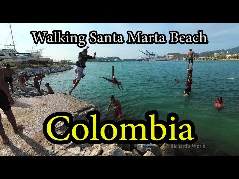 Santa Marta Colombia - Walking along the Beach - Yi4K+