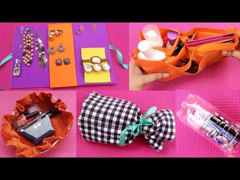 6 DIY Travel Organizers You can make easily at home #Travel Bag organization ideas #6 storage ideas