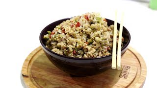 Куриный фарш с овощами и рисом
