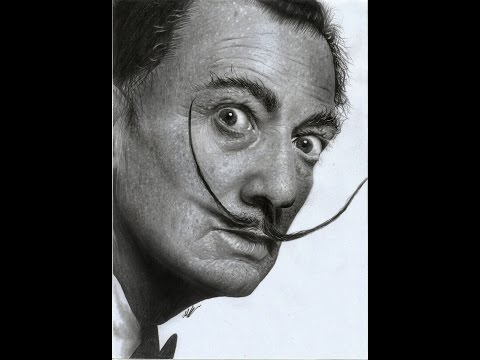 Salvador Dali Hyperrealistic portrait pencil art ( speed drawing ) Achilles Mant