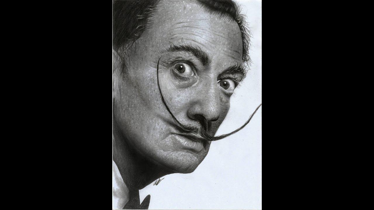Salvador Dali Hyperrealistic portrait pencil art ( speed drawing ...