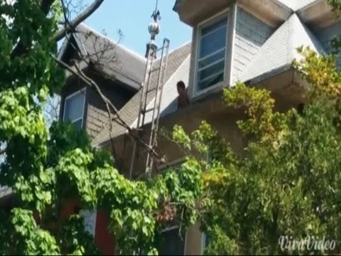 Firefighters rescue toddler from roof